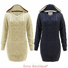 LADIES WOMENS CABLE KNITTED CHUNKY TOP HOODED PULLOVER SWEATER JUMPER 10-18