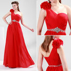 HOT Sexy One Shoulder Chiffon Ball Gown Evening Prom Party Formal Wedding Dress
