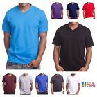 Men's T-Shirt HEAVY WEIGHT Plain V-Neck BIG AND TALL Hipster GYM Casual Tee  image