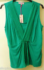 Ladies M&S Per Una Green Sleeveless Pleat Detail Top with Mock Camisole Bnwt