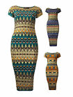 Womens Foil Aztec Print Midi Dress Cap Sleeves Blue Teal Rust Ladies New Sz 8-14