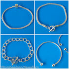"Silver Plated Bangles Snake Bracelet Chain Fit Charm Beads 7.5"" 8"""