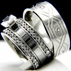 2.10 CT Clear CZ Solitaire Engagement Stainless Steel 316L Wedding Ring Set