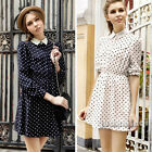 New Autumn Vintage Women Collared  Polka Dot Print Casual Party Swing Mini Dress