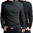 Unique Designed Winter Men's Knit Sweater Warm Knitwear Jumper Black/Grey XS-L