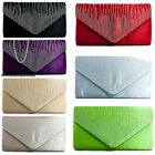 New Satin Clutch Bag  Evening Party Wedding Prom Bridesmaid Diamante Envelope