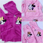 Girls Minnie Mouse Pink Purple Velour Tracksuit Hoodie Top Bottom Set 3-7 Years
