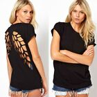 Solid Color Women T-Shirt Wing Back Backless Casual Hollow Crew Neck Blouse Tops