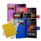 For Sony Xperia Z1 L39H C6902 C6903 Wallet Flip Case Cover + Screen Protector