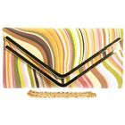 New Pink Designer Swirl Print Clutch Bag Multi Color Envelope Light Rainbow