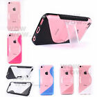 Gel TPU PC Stand Silicone Case Back Cover For Apple iPhone 5C 6 Colors