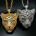 Panther Head Pendant Chain Necklace Gold Silver Mens Animal Leopard Jewelry