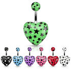 New Surgical Steel Love Heart Belly Navel Bar With Star Print Choice of Colour
