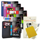 FOR SONY XPERIA SP C5303 PU LEATHER WALLET FLIP CASE COVER + Screen Protector