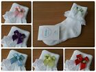 L@@K! Cute Girls Frilly Occasion Socks! Rose Bow Detail Various Colours & Sz