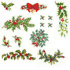 Ceramic Decals Christmas Holiday Green Holly Red Berries Several Designs