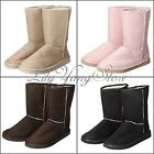 New Women Girl Winter Warm Faux Suede Fur Lined Mid-calf Snow Flat Boots Shoes