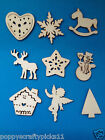 9 SMALL NATURAL WOODEN CHRISTMAS SHAPE CARD MAKING SCRAPBOOKING EMBELLISHMENTS