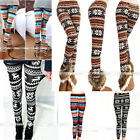 Womens Xmas Snowflake Reindeer Knitted Tights Cotton Pants Trousers Leggings