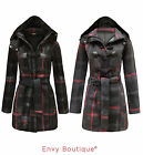 NEW WOMENS LADIES HOODED DUFFLE TRENCH POCKET CHECK JACKET FLEECE COAT 8-14