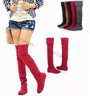 Womens Ladies Low Heels Boots Fold Add Height Over Knee Thigh Slouch Shoes Size