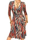 New Printed Block Stripe V Neck Collared Wrap Dress