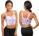 Floral Print Cut Out Crop Top Lace Sides S/M or M/L Brand New Festival