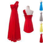 Charming Long Wedding Bridesmaid One Shoulder Chiffon Formal Evening Party Dress