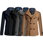 NWT Mens Double Breasted Trench Pea Coat Jacket Overcoat Coat Tops Outwear XS~L