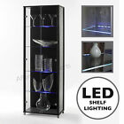 LED Shelf Lit Double or Single Door Glass Display Cabinet Black or White