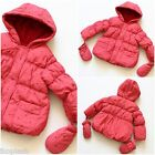 Baby Girls Pink Winter Mitten Set Jacket Hooded Coat Size 3 6 9 12m 18m24 Month