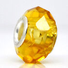 Wholesale Lots Yellow Cut&Faceted Glass Beads Fit Charm Bracelet 14mmx9mm