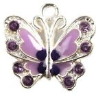 15/75pcs Plated Silver Enamel Colorful Rhinestone Butterfly Charms Alloy Pendant