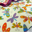 cream butterfly 100 % cotton fabric per fat quarter or half metres width 44inch