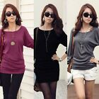 Women Batwing Sleeve Casual Cotton Blouse Tops Loose Long Tee T-Shirt Base Shirt