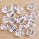 Clear White Transparent Faceted Round Ball Charms Acrylic Spacer Beads 2 Sizes