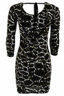 Ladies Gathered Glitter 3/4 Sleeve Low Back Tie Snake Print Womens Bodycon Dress