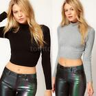 Stylish Womens Polo Neck Crop Top Long Sleeve T-Shirt Casual Tops Cotton Blouse