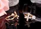 New Arriving 1pcs Silver/Glod Plated Cross Ring Cleart Crystal Adjustable Ring
