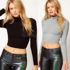 Womens Polo Turtle Neck Crop Top Long Sleeve Stretch Bodycon T shirt 10-14