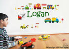 PERSONALISED NAME & CONSTRUCTION SCENE KIDS / NURSERY WALL STICKER -1-8269
