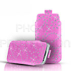DIAMOND BLING LEATHER PULL TAB SKIN CASE COVER POUCH FITS VARIOUS NOKIA PHONES