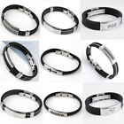 Men Goth Black Rubber Steel Link Chain Wristband Clasp Bangle Cuff Bracelet Punk