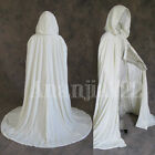 Stock!White Hooded Cloak Velvet Wedding Cape Wicca Medieva Shawl Sca Size S-XXL