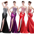 Mermaid Satin Homecoming Formal Evening Gown WEDDING Bridesmaid Long Prom Dress