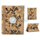 360 Deg Rotate Flower Floral Faux Pu Leather Case Cover Stand For New iPad 4 2 3