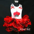 Red Black Tutu Zebra Cupcake Birthday 2pc Outfit 1-7Y