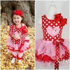 Girls Valentine's Day Light Pink Red Tutu Heart Polka Dots Shirt Party Dress 1-7