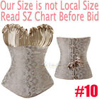 Brocade Overbust Boned Bustier Corset Bustier Top SEXY Lingerie Plus Size S-6XL