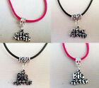 Big Sister / Little Sister charm on a Real Leather or Faux Suede Necklace - gift